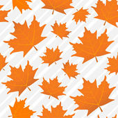 Orange maple leaves seamless pattern, a background of gray lines — Stock Vector