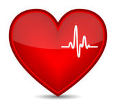 Cardiogram on red heart shape — Stock Vector