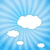 Web design abstrait avec des nuages avec des rayons de soleil. — Vecteur