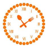 Diet time (orange fruit in clock symbol isolated on white). — Stock Vector