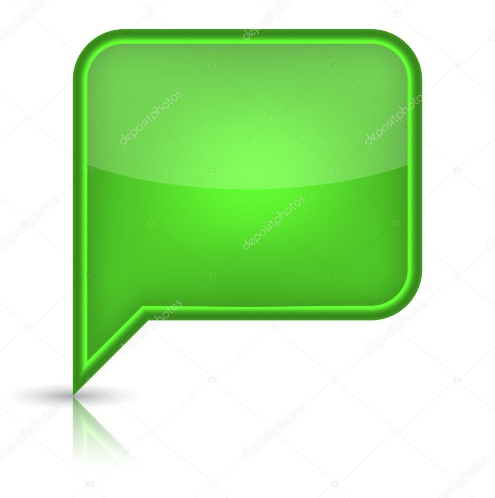 Green glossy empty speech bubble web button icon. Rounded rectangle ...