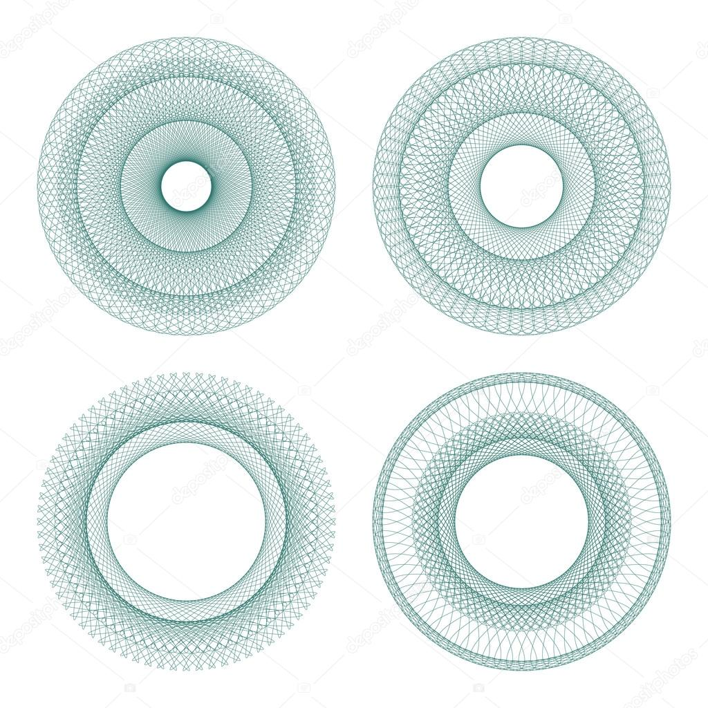 Set of vector guilloche rosettes certificate or diplomas, decorative elements — Stock Vector #13883977