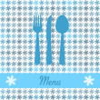 Stock Vector: Christmas card for restaurant menu, with spoon, knife and fork