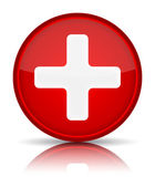 First aid medical button sign with reflection isolated on white. — Stock Vector