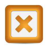 Orange glossy web button with delete sign — Stock Vector