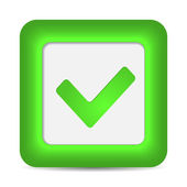Green glossy web button with check mark sign. — Stock Vector