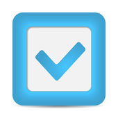 Blue glossy web button with check mark sign. — Stock Vector