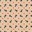 Stylish valentine cats pattern. Vector illustration -  