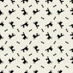 Stylish black dogs pattern with bones. — Stock Vector