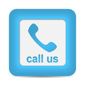Call Us. Phone icon on blue button. — Stock Vector