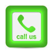 Call Us. Phone icon on green button. Vector — Stock Vector