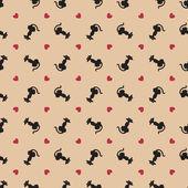 Stylish valentine cats pattern. Vector illustration — Stock Vector