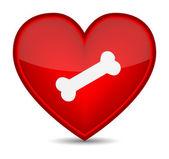 Dog bone on red heart shape. — Stock Vector