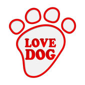 Paw print stickers with text love dog. — Stock Vector