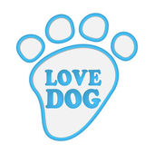 Paw print stickers with text love dog. — Stockvektor