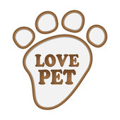 Paw print stickers with text love pet. — Stock Vector