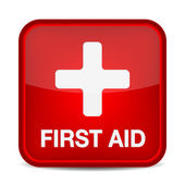 First aid medical button sign isolated on white. — Stockvektor