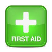 Eerste hulp medische knop teken geïsoleerd op wit. — Stockvector