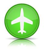 Vliegtuig pictogram. Meld u met reflectie geïsoleerd op wit. — Stockvector