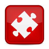 Puzzle pezzo icona sul pulsante quadrato rosso. — Vettoriale Stock