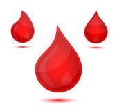 Red liquid drops icon emblem — Stock Vector