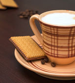 Cup of cappuccino and biscotti — Stok fotoğraf
