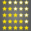 App icons glass set. Five glossy yellow stars ratings. — Stock vektor