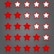 App icons glass set. Five glossy red stars ratings. — Stock Vector