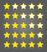 App icônes verre ensemble. jaune brillant cinq étoiles cotes. — Vecteur
