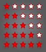 App icônes verre ensemble. rouge brillant cinq étoiles cotes. — Vecteur