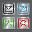 Set app icons, metallic email, envelope buttons. — Stock Vector