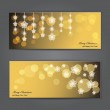 Set of Elegant Christmas banners with stars. — Stock Vector