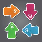 Pijl stickers met getallen. — Stockvector