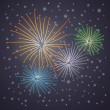 Glowing starry fireworks on blue background. — Stock Vector