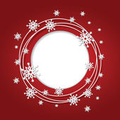Christmas red background with snowflakes and place for text. Rou — Stock vektor
