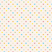 Seamless polka dot colorful pattern with hearts. — Stock Vector