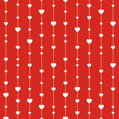 Seamless stylish red pattern with hearts. — Stockvector