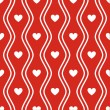 Seamless red pattern with hearts. Vector — Stock Vector