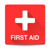 First aid medical button sign in flat style with long shadows. — Vettoriale Stock
