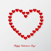 Alla hjärtans dag bakgrund med papper hjärtan. vektor — Stockvektor