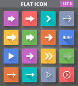 Arrow Icons set in flat style with long shadows. — Stock Vector