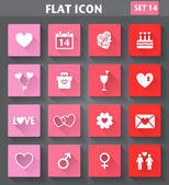 Valentines Day Icons set in flat style with long shadows. — Vecteur