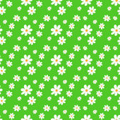 Seamless green pattern with flowers. — Stock Vector