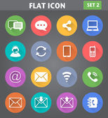 Communication Icons set in flat style with long shadows. — Stock Vector