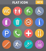 Public Icons set in flat style with long shadows. — Stock Vector