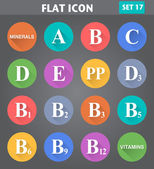 Vitamins Icons set in flat style with long shadows. — Stock Vector