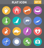 Veterinary Pet Icons set in flat style with long shadows. — Stock Vector