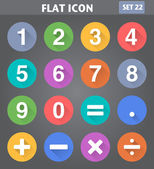 Numbers and Mathematical Icons set in flat style with long shado — Stock Vector