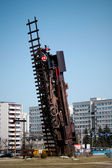 Train monument in Wroclaw. Train to heaven — Stock Photo