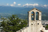 Church tower with bell. View on the alps and Grenoble, South France, Isere — Stock Photo